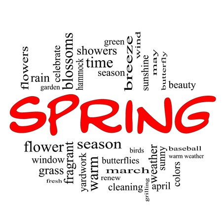 Spring Word Cloud Concept in Red Caps with great terms such as season, flowers, showers, baseball, April and more.