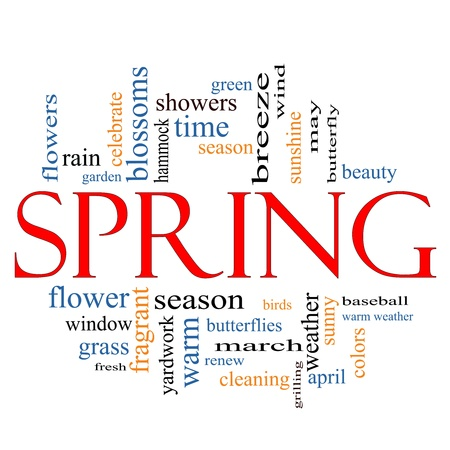 showers: Spring Word Cloud Concept with great terms such as butterfly, season, flowers, showers, baseball, April and more. Stock Photo