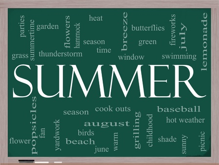 Summer Word Cloud Concept on a Chalkboard with great terms such as season, fireworks, swimming, baseball, warm, heat and more. photo