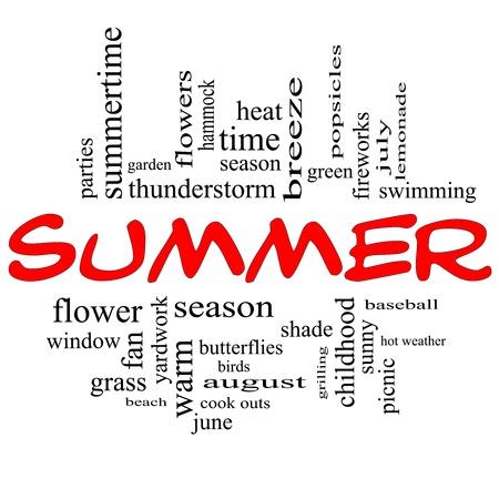 paletas de hielo: Palabra Nube de verano en el concepto de tapas rojas con los términos de la talla de la temporada, los fuegos artificiales, la natación, el béisbol, el calor caliente, y mucho más.