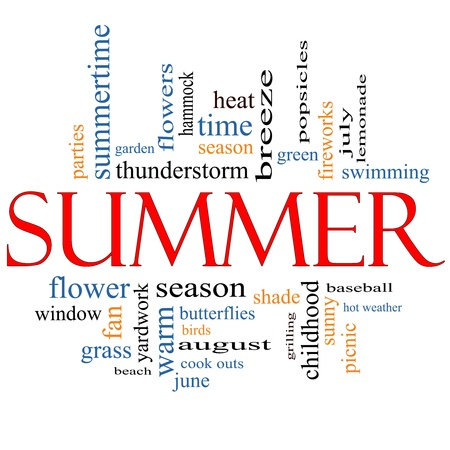 Summer Word Cloud Concept with great terms such as July, green, season, fireworks, swimming, baseball, warm, heat and more. photo
