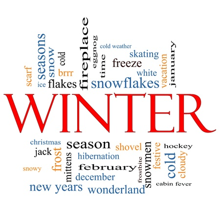Winter Word Cloud Concept with great terms such as snowmen, eggnog, season, cold, snow, skating, ice, white and more. Stock Photo