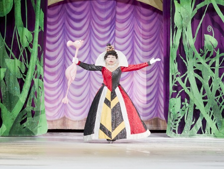 GREEN BAY, WI - MARCH 10: Alice in Wonderland s Queen of Hearts makes her grand entrance on skates at the Disney on Ice Treasure Trove show at the Resch Center on March 10, 2012 in Green Bay, Wisconsin.