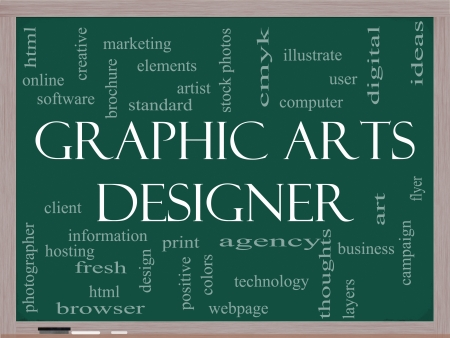Graphic Arts Designer Word Cloud Concept on a Blackboard with great terms such as software, html, client, design and more photo
