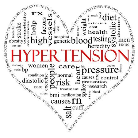 Een zwarte en rode hartvormige Word wolk concept rond het woord Hypertensie met inbegrip van woorden zoals lezen, controle, dokter, rx en nog veel meer. Stockfoto