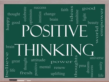 uplifting: Palabra Nube Concepto Pensamiento positivo en una pizarra con t�rminos de calidad, como buena, mental, el pensamiento, la vida, el optimismo y m�s