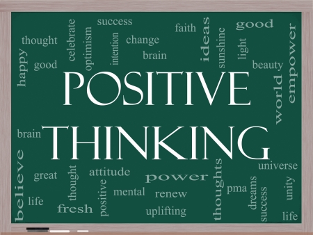 Positive Thinking Word Cloud Concept on a Blackboard with great terms such as good, mental, thought, life, optimism and more photo