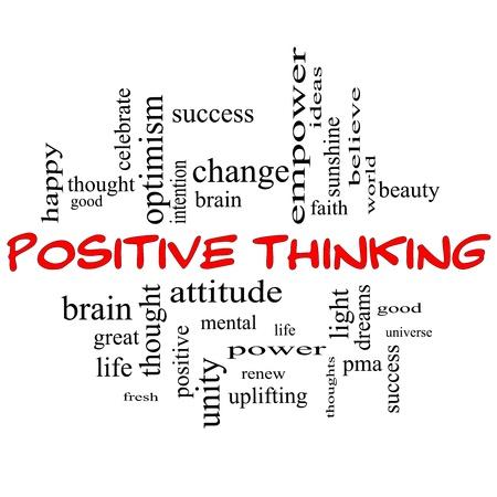 optimismo: Palabra Nube Concepto Pensamiento positivo en letras mayúsculas de color rojo con grandes términos como bueno, mental, el pensamiento, la vida, el optimismo y más Foto de archivo