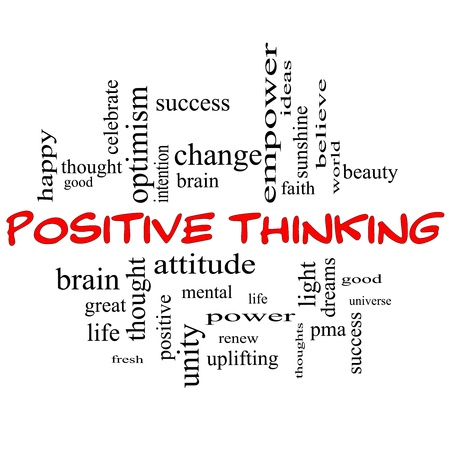Positive Thinking Word Cloud Concept in red capital letters with great terms such as good, mental, thought, life, optimism and more photo