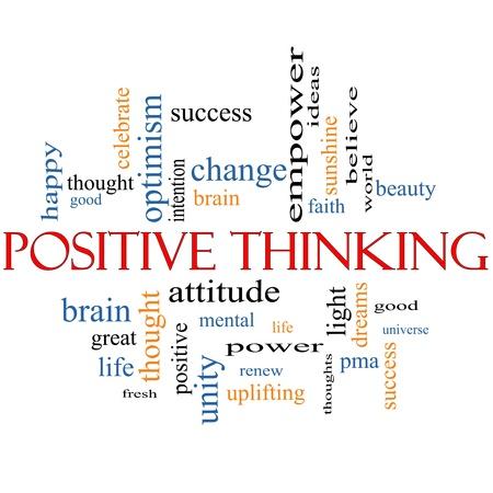 optimismo: Palabra Nube Concepto Pensamiento positivo con los t�rminos de calidad, como buena, PMA, mental, el pensamiento, la vida de optimismo, y m�s Foto de archivo