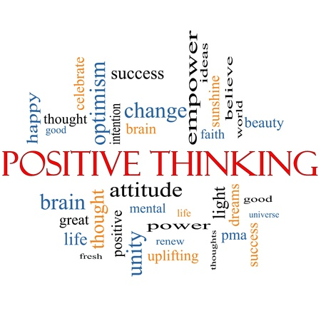 good attitude: Positive Thinking Word Cloud Concept with great terms such as good, pma, mental, thought, life, optimism and more Stock Photo