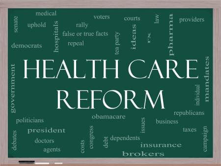 이러한 의료, 정치, 코트, 보험, 비용, 사업, 폐지 등과 같은 좋은 조건의 칠판에 헬스 케어 개혁 단어 구름 개념 스톡 콘텐츠