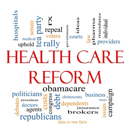 Health Care Reform Word Cloud Concept with great terms such as healthcare, politics, courts, insurance, costs, business, repeal and more Stock Photo