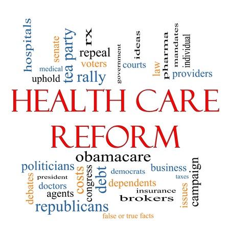 Hervorming van de Gezondheidszorg Word Cloud Concept met grote termen als gezondheidszorg, politiek, rechtbanken, verzekeringen, kosten, het bedrijfsleven, de intrekking en nog veel meer Stockfoto
