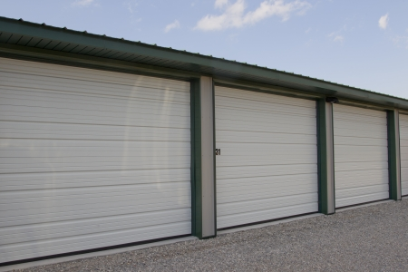 A close up shot of a mini storage or warehouse unit that are rented by the month. photo