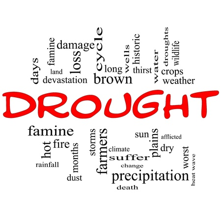 Drought Word Cloud Concept in Red and Black with great terms such as farmers, water, crops, weather, dry, climate change and more Stock Photo - 14503654