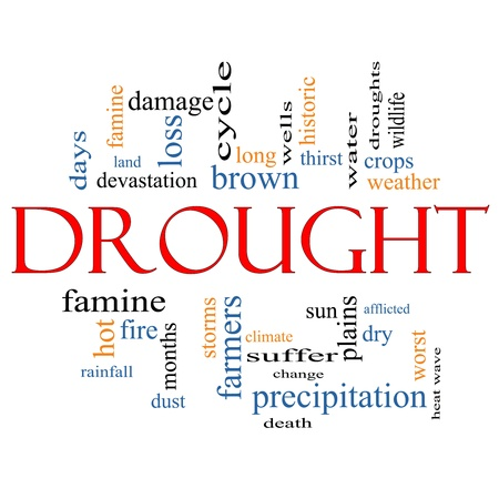 wells: Drought Word Cloud Concept on a Blackboard with great terms such as farmers, death, water, crops, weather, dry, climate change and more Stock Photo