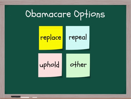 repeal: Obamacare options on blackboard with sticky notes showing Repeal, Replace, Uphold, or other making a great healthcare reform concept. Stock Photo