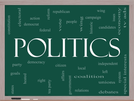 electoral: Politics Word Cloud Concept on a Blackboard with great terms such as democracy, parties, democrats, republicans and more Stock Photo
