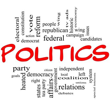 political system: Pol�tica Palabra concepto de nube en letras rojas grandes con t�rminos tales como democracia, los partidos, dem�cratas, republicanos y m�s