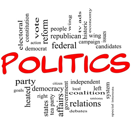 Politics Word Cloud Concept in Red Letters with great terms such as democracy, parties, democrats, republicans and more photo