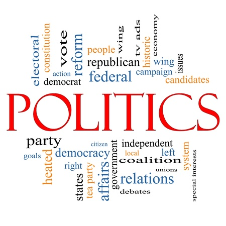 Politics Word Cloud Concept with great terms such as democracy, parties, federal, local, democrats, republicans and more Stock Photo - 14569494