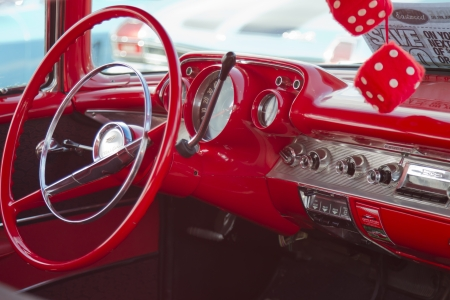 APPLETON, WI - JULY 21: Interior of Red 1957 Chevy Chevrolet Bel Air Two Door at the 18th Annual WVBO Classic Car Show and Cruise at Fox Valley Technical College on July 21, 2012 in Appleton, Wisconsin.