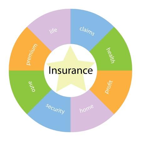 Een cirkelvormige verzekeringsconcept met grote termen rond het centrum