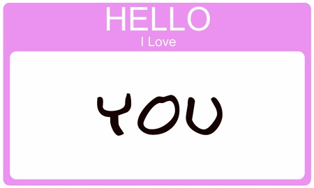 A pink name tag with the words Hello I Love You written on it making a great concept image