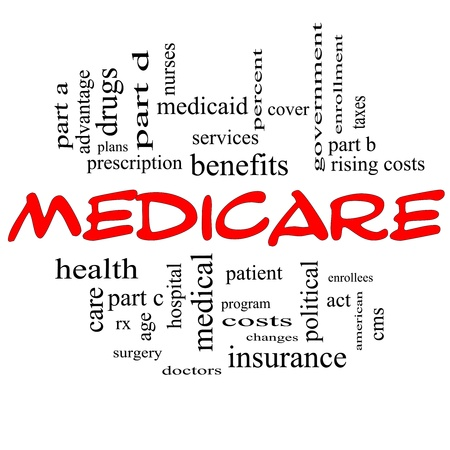 medicare: Medicare Word Cloud Concept in Red Capital letters with great terms Stock Photo