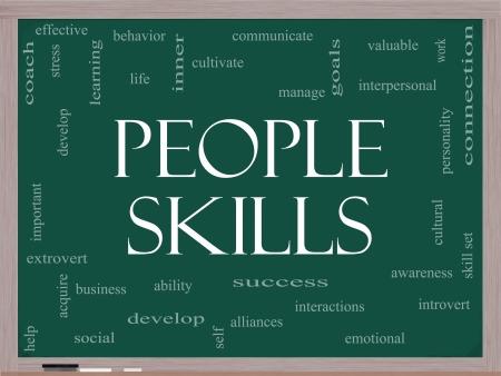 interactions: Mensen Vaardigheden Word Cloud Concept op een bord met grote termen Stockfoto