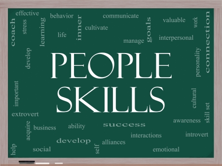 People Skills Word Cloud Concept on a Blackboard with great terms  photo