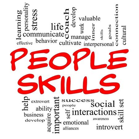 interactions: Mensen Vaardigheden Word Cloud Concept in rode hoofdletters met veel termen