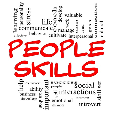 People Skills Word Cloud Concept in red capital letters with great terms Stock Photo