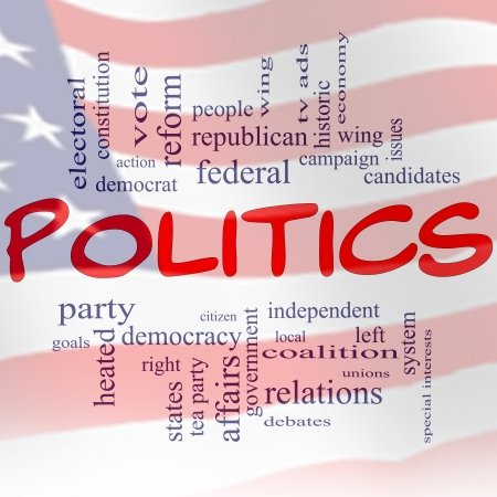 A red white and blue flag Politics Word Cloud Concept with great terms Stock Photo - 14742684