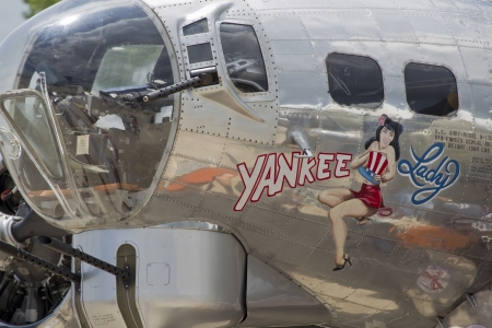 yankee: OSHKOSH, WI - JULY 27: Close up of a B-17 Flying Fortress Yankee Lady warbird on display at the 2012 AirVenture at EAA on July 27, 2012 in Oshkosh, Wisconsin.