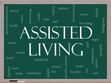 Assisted Living Word Cloud Concept on a Blackboard with great terms such as health, care, elderly, help, tender, needs and more photo