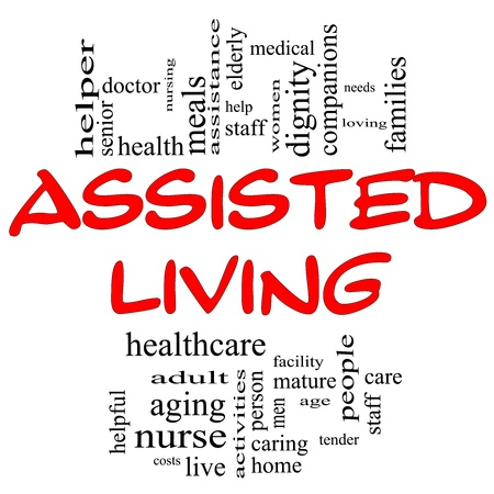 Assisted Living Word Cloud Concept in red and black with great terms such as nurse, health, care, elderly, help, tender, needs and more Stok Fotoğraf