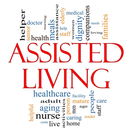 Assisted Living Word Cloud Concept with great terms such as health, care, elderly, help, tender, needs, nursing and more photo