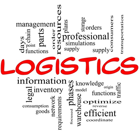 Logistics Word Cloud Concept in red and black with great terms such as resources, goods, supply, optimize, model, orders, network and more photo