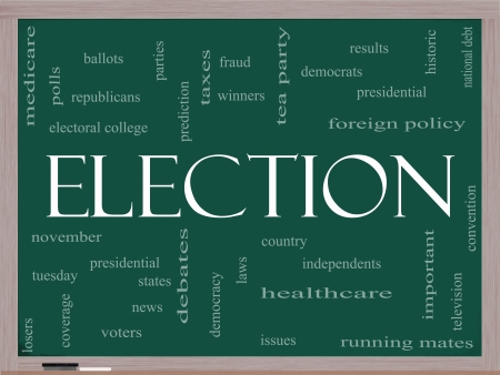 electoral: Election Word Cloud Concept on a Blackboard with great terms such as presidential, convention, republicans, deomcrats, winners, issues and more