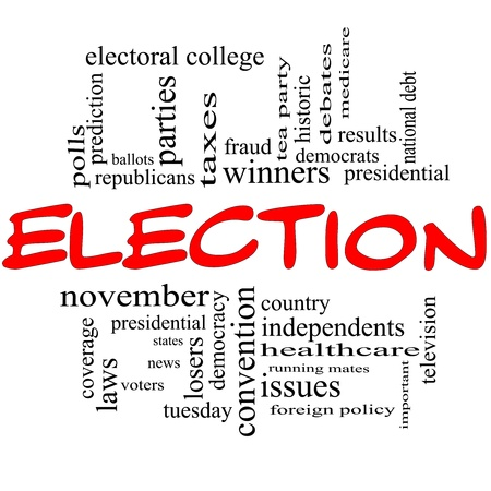 foreign policy: Election Word Cloud Concept in red and black with great terms such as voters, presidential, convention, republicans, deomcrats, winners, issues and more Stock Photo