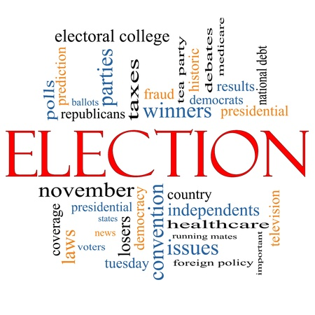 electoral: Election Word Cloud Concept with great terms such as voters, debt, presidential, convention, republicans, deomcrats, winners, issues and more