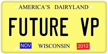 vp: An imitation Wisconsin license plate with November 2012 stickers and Future VP signaling the chance for Paul Ryan to be Vice President. Stock Photo
