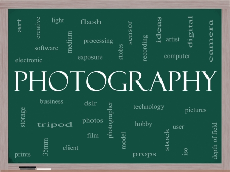 Photography Word Cloud Concept on a Blackboard with great terms such as dslr, photographer, model, iso,  strobes, flash and more Stock Photo - 14851149