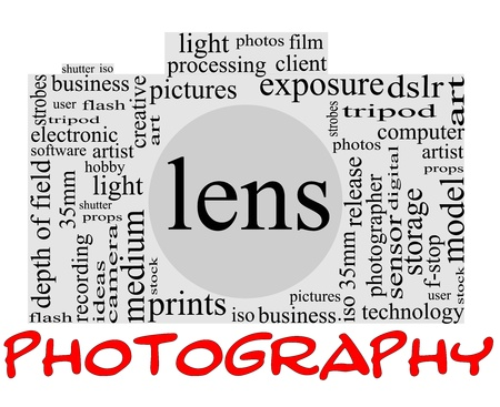 Photography Word Cloud Concept inside a camera shape with great terms such as lens, dslr, art, photographer, model, iso,  strobes, flash and more photo