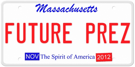 An imitation Massachusetts license plate with November 2012 stickers and Future Prez signaling the chance for Mitt Romney to be President   Words on the bottom The Spirit of America