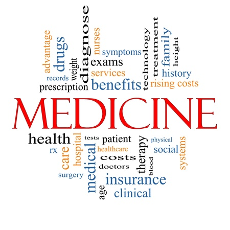 Medicine Word Cloud Concept with great terms such as records, exams, symptoms, patient, costs, blood, clinical and more