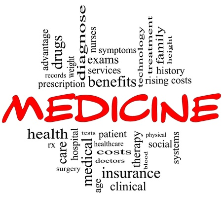 Medicine Word Cloud Concept in red and black letters with great terms such as rx, exams, symptoms, patient, costs, blood, clinical and more Stock Photo - 14851158