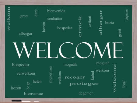 Welcome Word Cloud Concept on a Blackboard with Welcome greetings in different languages such as hozta, welkom, begr, bienvenida and more  photo